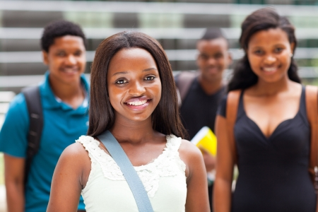 group of african college students on modern campus photo