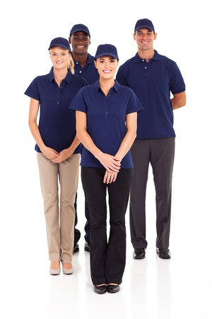 group of delivery service staff full length portrait on white photo