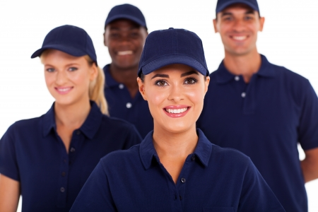 group of service industry staff closeup on white Stock Photo - 17781855