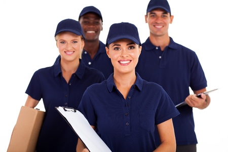 parcel service: group of delivery service staff half length on white