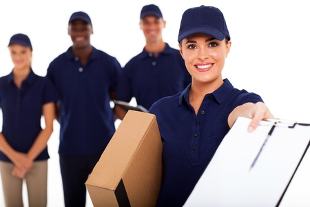 delivery package: pretty delivery girl and team on white background