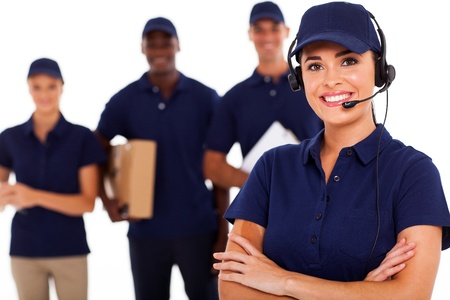 delivery man: professional courier service despatcher and staff