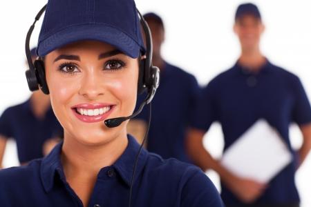 専門的な技術サポート コール センターの despatcher とチーム