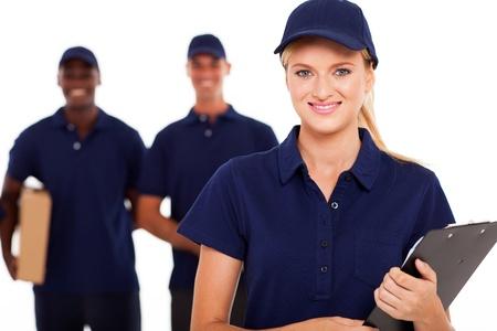 delivery man: professional delivery service staff studio portrait