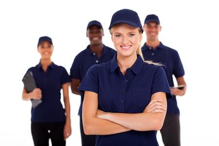 équipe de service technique sur fond blanc