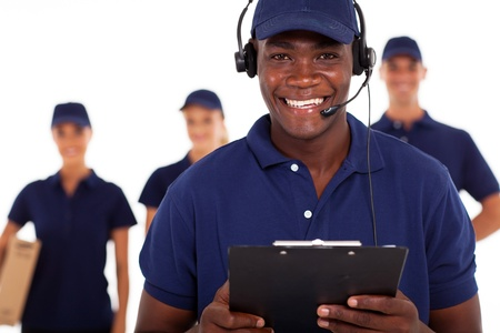 telephonist: african american male courier service despatcher and team Stock Photo