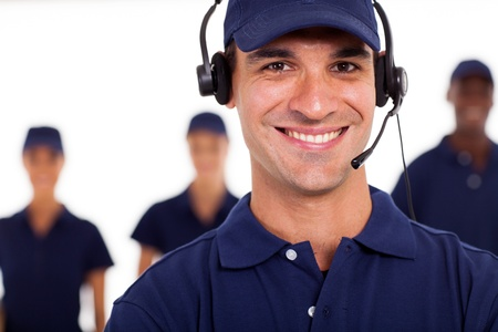 call out: professional technician with headphones on the call