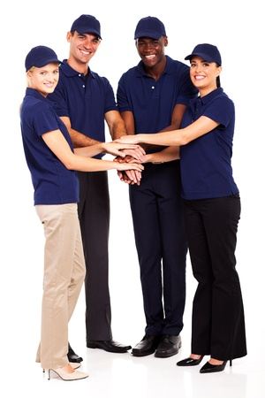 group of service industry staff hands together photo