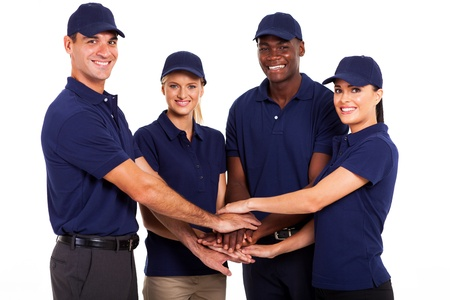 service team hands together on white background photo