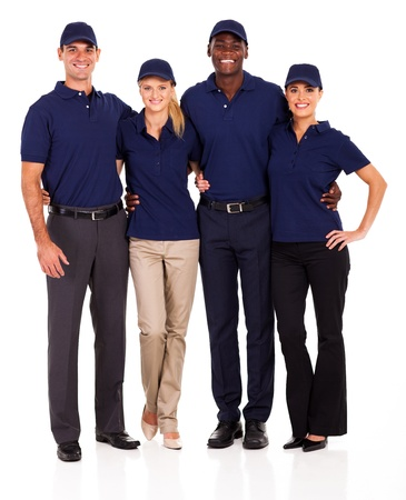 blue collar: young service team group portrait on white Stock Photo