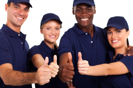 group of service staff thumbs up on white photo
