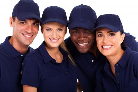 IT service closeup portrait de groupe sur fond blanc