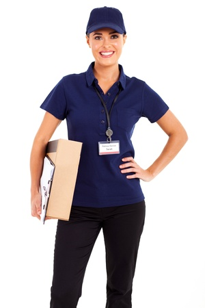 navy blue background: pretty delivery girl half length isolated on white