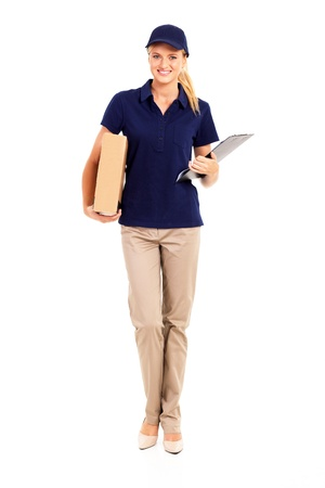 young delivery woman full length portrait on white