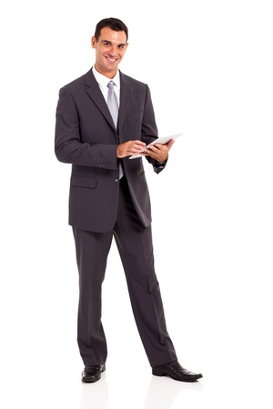 handsome businessman with tablet computer isolated on white photo