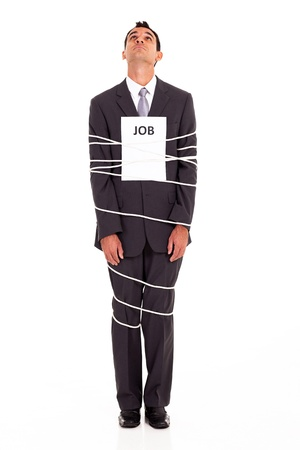 young man looking for a way out of a boring job Stock Photo - 17781634