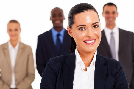 pretty businesswoman and team on white background Stock Photo - 17781870
