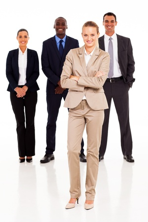 business woman standing: group of business people full length portrait