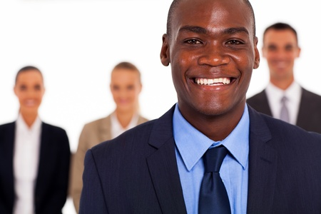 african american businessman in front of group colleagues photo