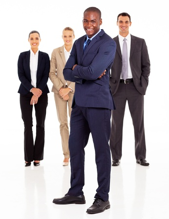well dressed girl: african american businessman and colleagues full length portrait on white
