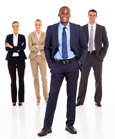 african american businesswoman: handsome african businessman and team full length on white