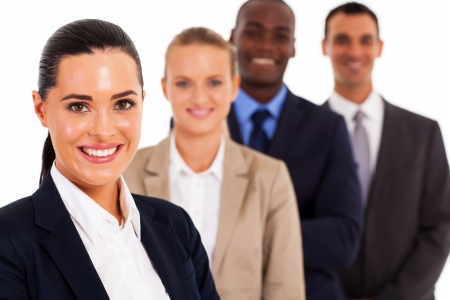pretty female corporate worker and team on white Stock Photo - 17781869