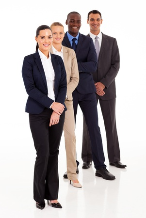 out of office: business team full length portrait on white