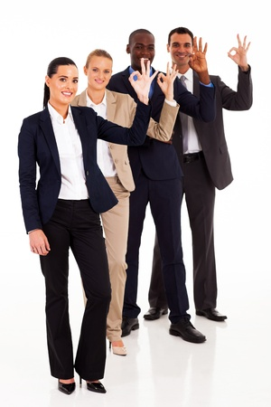 group of business people giving ok hand sign photo