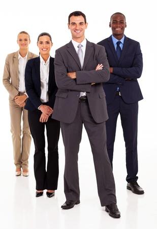 čtyři lidé: Skupina podnikatelů v plné délce na bílém pozadí