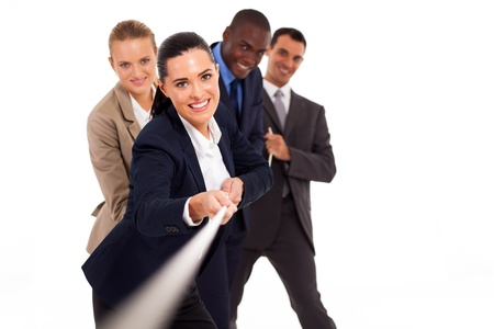 rope background: group of business people playing tug-of-war