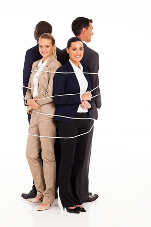 tied girl: group of business people tied up together