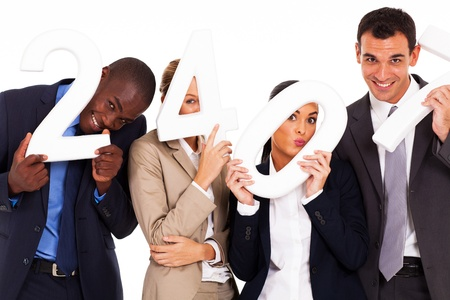 group of funny business people holding numbers Stock Photo - 17781918