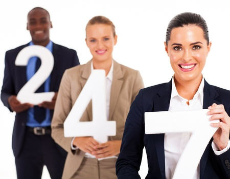 group of business people holding numbers 24 7 Stock Photo - 17781827