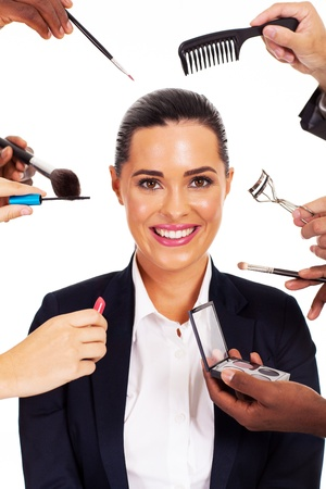 pretty businesswoman with makeup tools around her Stock Photo - 17781892