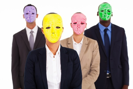 group of business people with mask photo