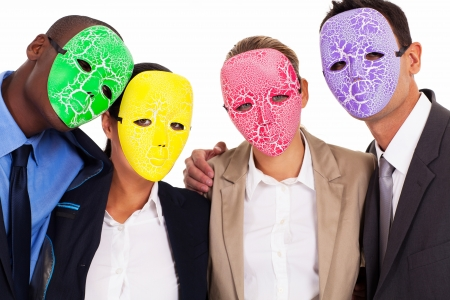 fake business teamwork concept group of business people with mask Stock Photo - 17781922