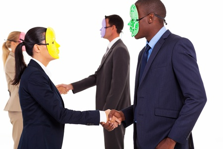 half dressed: business people with mask handshake on white Stock Photo