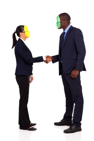 two business people with mask handshaking full length on white photo