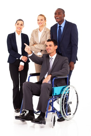 well dressed girl: handicapped business leader on wheelchair pointing