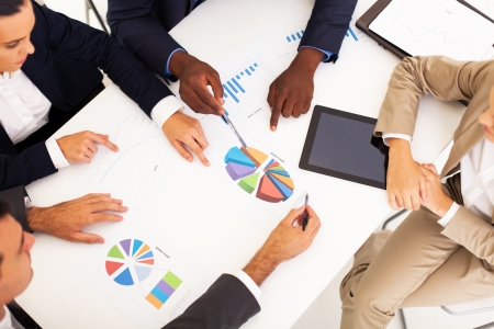 overhead view of group business people having meeting together Stock Photo - 17781874