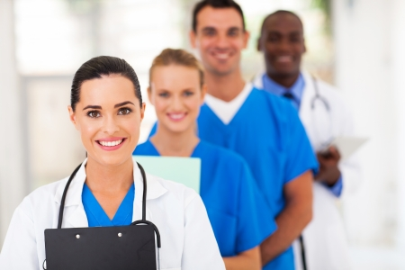 group of healthcare workers line up photo