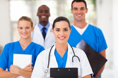 group of healthcare professionals in hospital photo