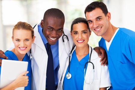 group of professional medical team closeup photo