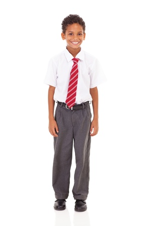 cute elementary schoolboy in uniform isolated on white Stock Photo - 18075370