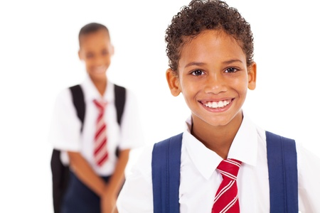 cute elementary schoolboy in front of classmate photo