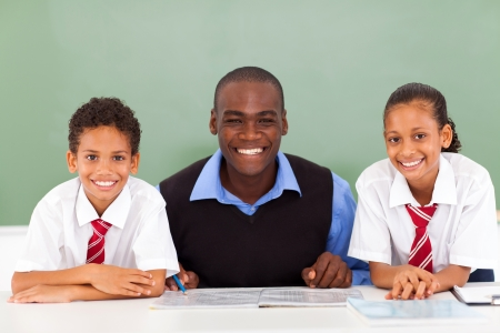 african elementary school teacher and students in classroom Stock Photo - 18075484