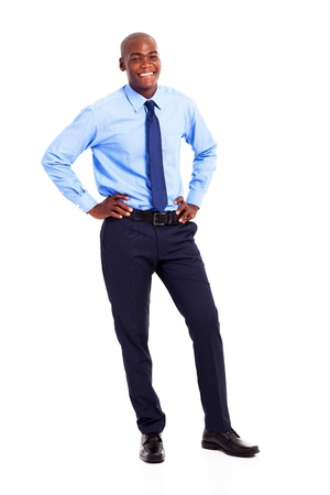 black businessman full length portrait isolated on white photo