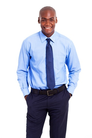 half dressed: african american businessman hands in pockets isolated on white Stock Photo