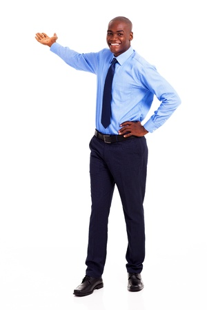 presenting: african american businessman presenting on empty copyspace Stock Photo