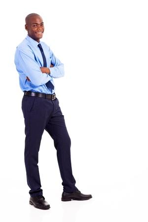 joyful businessman: young black businessman full body portrait isolated on white